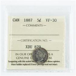 1887 Canada 5 Cent VF30. ICCS. (SSR)