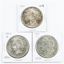 Group (3) USA Silver Dollars: 1921(S), 1922 (D), 1