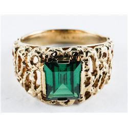 Estate 10kt Gold Ring Nugget Style, Emerald Green