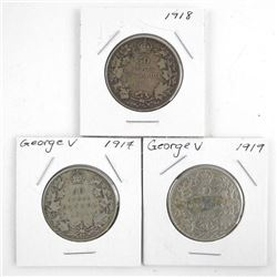 Group of (3) Canada Silver 50 Cent 1917-1918-1919