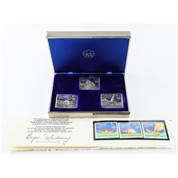 Group (3) .9999 Fine Silver Olympic Stamps, Plus P