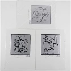 Christian Morrisseau - Grouping of (3) Silver Leaf