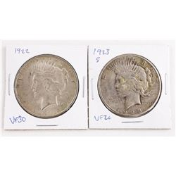 Lot (2) US Silver Dollars 1922-1923 VF30 and VF20