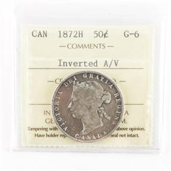 Canada 1872H Silver 50 Cent G-6 ICCS