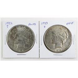 Lot (2) USA Peace Dollars 1922 and 1923 (S) AU50 a