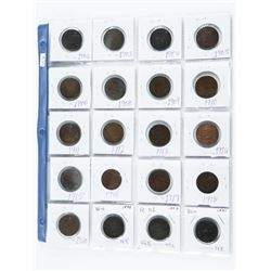 Group of (20) CAD Large Cent Coins, Early 1900s