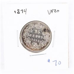 1874 CAN Silver 25 Cent VF20 (IR)
