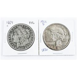 Lot (2) USA Silver Dollars: 1889(O) F12 and 1922(D