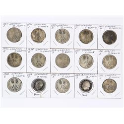 Grouping (15) German 2-5 Marks Coins with Proof an