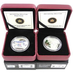 Lot (2) .9999 Fine Silver $10.00 Coins 'Winter Sce