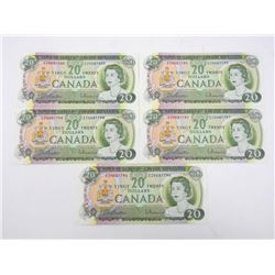 Lot (5) 1969 Bank of Canada 20.00 796/800 in Seque