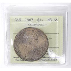 1967 Canada Silver Dollar. ICCS. MS65