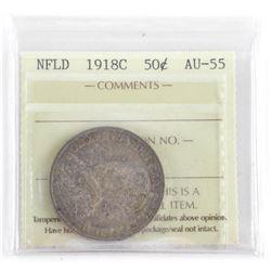 NFLD 1918C 50 Cent AU55. ICCS
