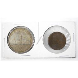 Pair 1939 Silver Dollar and Bronze Medal. 75 Years