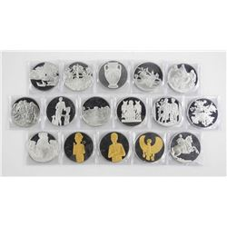 Franklin Mint Artistic Medal 16pc Collection 925 S