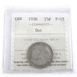1936 Canada 25 Cent Dot. F15.
