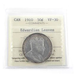 1910 Canada Silver 50 Cent Edwardian Leaves VF30.