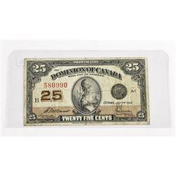Dominion of Canada 25 Cent Note 1923