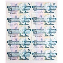 Lot (10) Bank of Canada 1986 5.00 (GN) Prefix BC-5