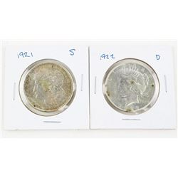 Lot (2) USA Silver Peace Dollars 1921 (S) AND 1922
