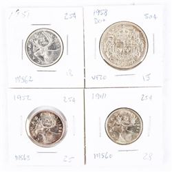 Group (4) CAN Silver 25 Cent and 50 Cent: 1941 MS6