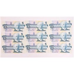 Lot (9) Bank of Canada 1986 5.00 in Sequence (ANN)