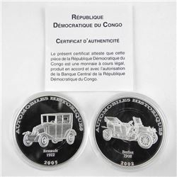 Lot (2) .9999 Fine Silver 10 Francs Historical Aut