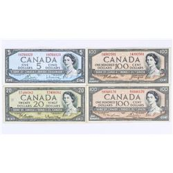 Group of (4) Bank of Canada Notes 1954 5.00, 20.00