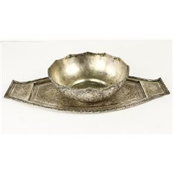 Estate - Persian Silver Bowl and Tray Set, Engrave