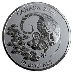 2020 .9999 Fine Silver $10.00 Coin 'Year of the Ra
