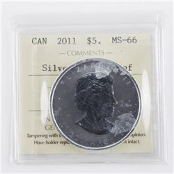 2011 .999 Fine Silver Maple Leaf $5.00 Coin MS66.