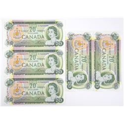 Lot (5) Bank of Canada 1969 20.00 (EZ) Prefix ; In
