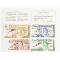 Government of Gibraltar 4 Specimen Note Set Matche