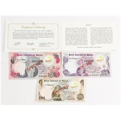 Bank of Malta * 3 Specimen Note Set 1,5,10 Matched