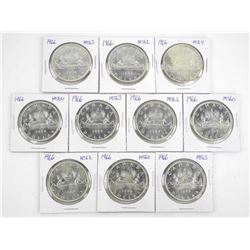 Lot (10) 1966 Silver Dollars Graded