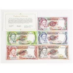 Swaziland 5 Specimen Notes * Matched Serial Number