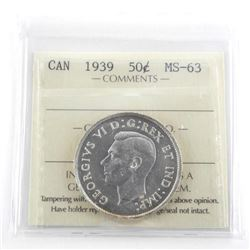 1939 Canada Silver 50 Cent MS63. ICCS