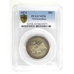 1874 NFLD 50 Cents PCGS. VF30