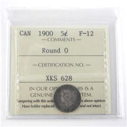 1900 Canada Silver 5 Cent F-12 Round (O) ICCS