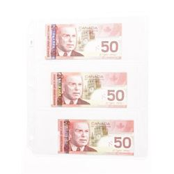 Lot (3) Bank of Canada 2004 Fifty Dollar Note