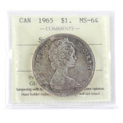 1965 Canada Silver Dollar Small Beads BIT 5 MS64 I