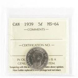 1939 Canada 5 Cents MS64 - ICCS (MER)
