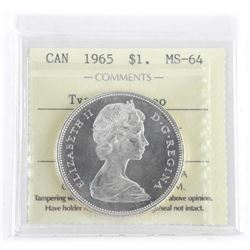 1965 Canada Silver Dollar MS-64. ICCS. Type V Came