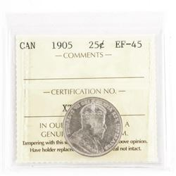 1905 Canada 5 Cents EF45 - ICCS (CCR) Scarce