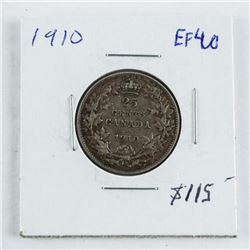 1910 Canada Silver 25 Cent EF40 (sse)