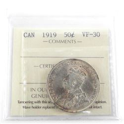 1919 Canada Silver 50 Cent VF30. ICCS