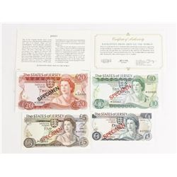 The States of Jersey 4 Note Set matched Serial Num