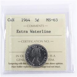 1964 Canada 5 Cents MS-63. ICCS. Extra Waterline