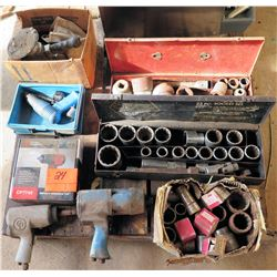 Multiple Air Tools Impact Wrenches & Misc Size Sockets Sets