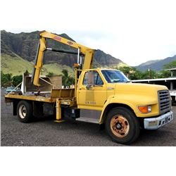 Ford F Series Flatbed Truck w/ IMT 4825 Truck-Mounted Extendable Crane (Runs & Drives, See Video)